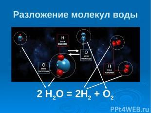 Разложение молекул воды 2 Н2О = 2Н2 + О2