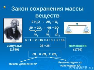 Закон сохранения массы веществ 2 Н2О → 2Н2 + О2 4Н + 2О → 4Н + 2О m1 m2 m3 m1 =