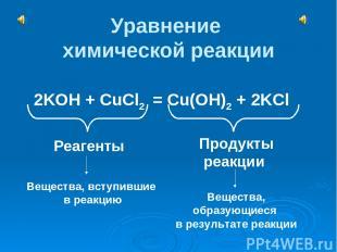 Уравнение химической реакции 2KOH + CuCl2 = Cu(OH)2 + 2KCl Реагенты Продукты реа