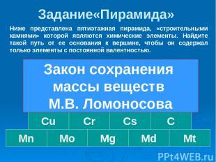 Задание«Пирамида» Au Mo Mn Cu Cs Ag Mg Cr Md Al C Mt F Fe ЗСМВ Ниже представлена