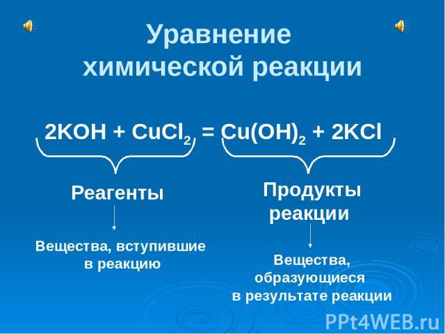 Уравнение химической реакции 2KOH + CuCl2 = Cu(OH)2 + 2KCl Реагенты Продукты реакции Вещества, вступившие в реакцию Вещества, образующиеся в результате реакции