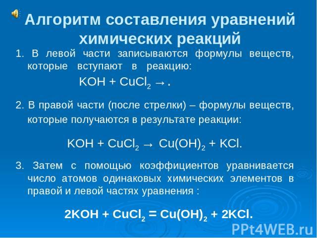 Алгоритм составления уравнений химических реакций 1. В левой части записываются формулы веществ, которые вступают в реакцию: KOH + CuCl2 →. 2. В правой части (после стрелки) – формулы веществ, которые получаются в результате реакции: KOH + CuCl2 → C…