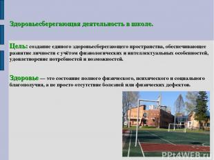 Здоровьесберегающая деятельность в школе. Цель: создание единого здоровьесберега