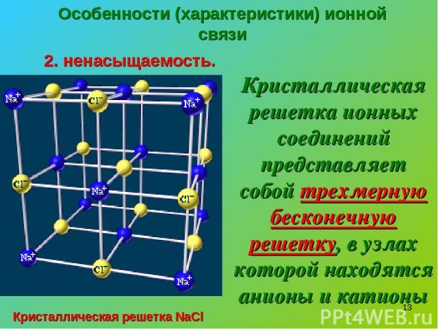* Особенности (характеристики) ионной связи 2. ненасыщаемость. Кристаллическая решетка ионных соединений представляет собой трехмерную бесконечную решетку, в узлах которой находятся анионы и катионы Кристаллическая решетка NaCl