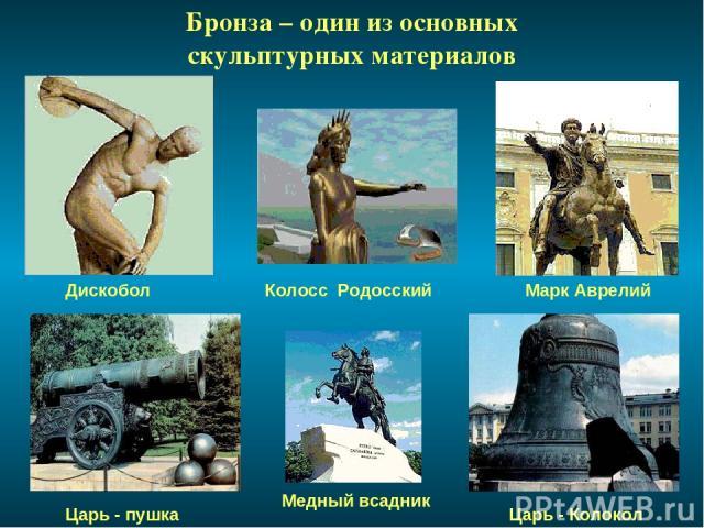 Бронза – один из основных скульптурных материалов Колосс Родосский Дискобол Марк Аврелий Медный всадник Царь - пушка Царь - Колокол