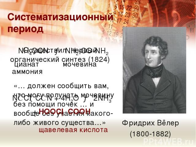 Систематизационный период Фридрих Вёлер (1800-1882) «… должен сообщить вам, что могу получать мочевину без помощи почек … и вообще без участия какого-либо живого существа…» Осуществил первый органический синтез (1824) NH4OCN → NH2-CO-NH2 цианат моче…