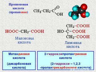 Метандиовая кислота (дикарбоновая кислота) 2-гидроксипропантриовая кислота (2-ги