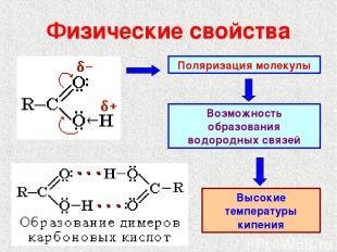 Физические свойства Поляризация молекулы Возможность образования водородных связ