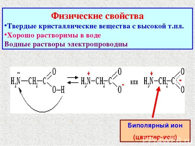 Физические свойства Твердые кристаллические вещества с высокой т.пл. Хорошо растворимы в воде Водные растворы электропроводны Биполярный ион (цвиттер-ион)