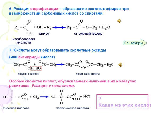 6. Реакция этерификации – образование сложных эфиров при взаимодействии карбоновых кислот со спиртами. 7. Кислоты могут образовывать кислотные оксиды (или ангидриды кислот). Особые свойства кислот, обусловленных наличием в их молекулах радикалов. Ре…