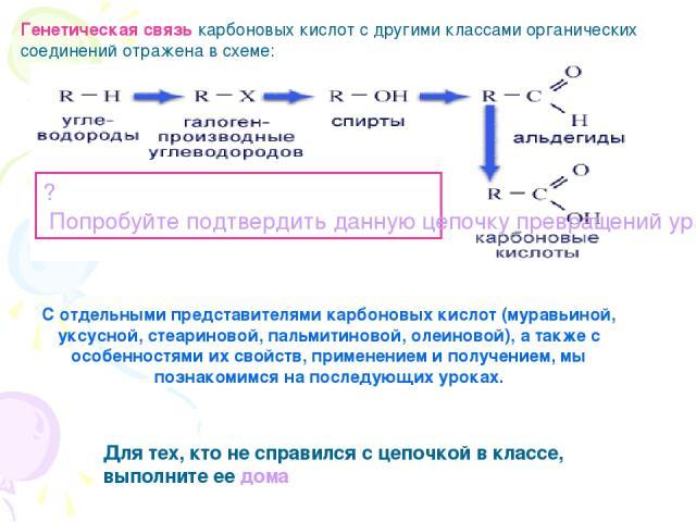 Генетическая связь карбоновых кислот с другими классами органических соединений отражена в схеме: ? Попробуйте подтвердить данную цепочку превращений уравнениями химических реакций, взяв за основу этан С отдельными представителями карбоновых кислот …