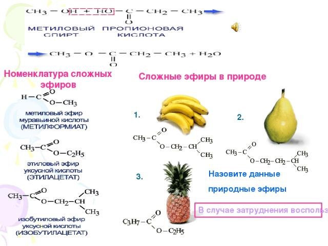 Номенклатура сложных эфиров Сложные эфиры в природе Назовите данные природные эфиры В случае затруднения воспользуйтесь шпаргалкой 1. 2. 3.