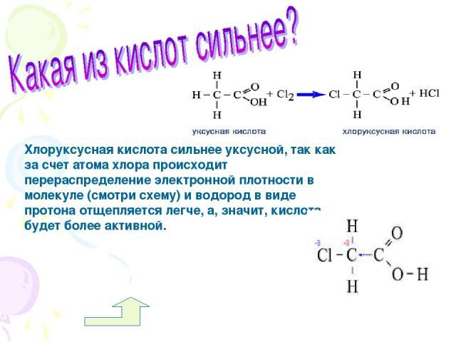 Хлоруксусная кислота сильнее уксусной, так как за счет атома хлора происходит перераспределение электронной плотности в молекуле (смотри схему) и водород в виде протона отщепляется легче, а, значит, кислота будет более активной.