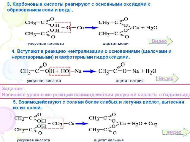 3. Карбоновые кислоты реагируют с основными оксидами с образованием соли и воды. 4. Вступают в реакцию нейтрализации с основаниями (щелочами и нерастворимыми) и амфотерными гидроксидами. Задание: Напишите уравнение реакции взаимодействия уксусной ки…