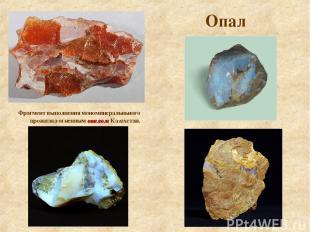 Опал Фрагмент выполнения мономинеральньного прожилка огненным опалом Казахстан.