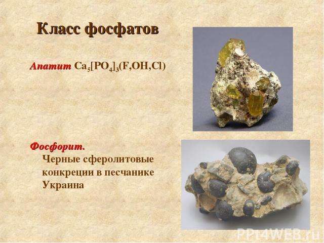 Класс фосфатов Апатит Са5[РO4]3(F,ОН,Cl) Фосфорит. Черные сферолитовые конкреции в песчанике Украина