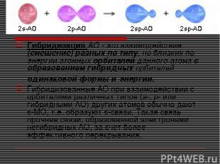 Гибридизация АО - это взаимодействие (смешение) разных по типу, но близких по эн