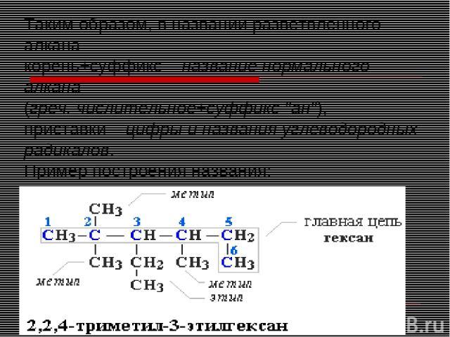 Таким образом, в названии разветвленного алкана корень+суффикс – название нормального алкана (греч. числительное+суффикс