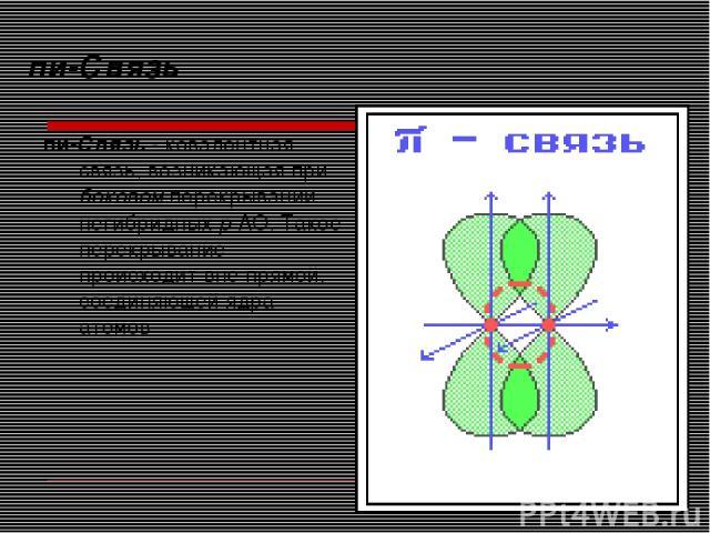 пи-Связь пи-Связь - ковалентная связь, возникающая при боковом перекрывании негибридных р-АО. Такое перекрывание происходит вне прямой, соединяющей ядра атомов