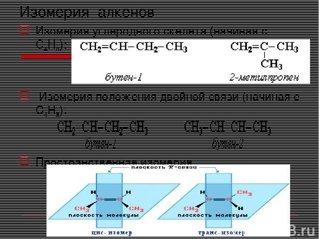 Изомерия алкенов Изомерия углеродного скелета (начиная с С4Н8): Изомерия положения двойной связи (начиная с С4Н8): Пространственная изомерия