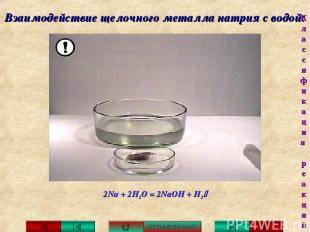 Взаимодействие щелочного металла натрия с водой: 2Na + 2H2O = 2NaOH + H2 ОГЛАВЛЕ