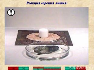 Реакция горения лития: ОГЛАВЛЕНИЕ