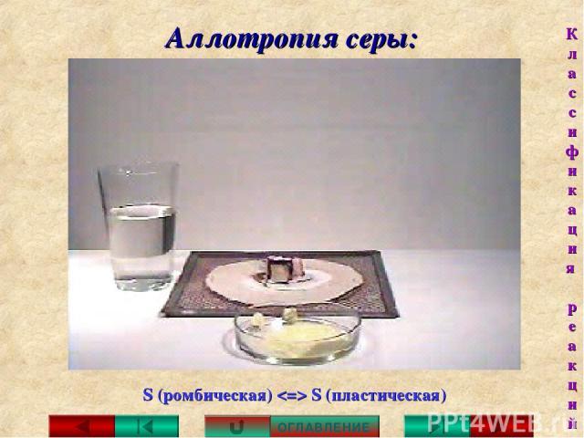Аллотропия серы: S (ромбическая) S (пластическая) ОГЛАВЛЕНИЕ Классификация реакций