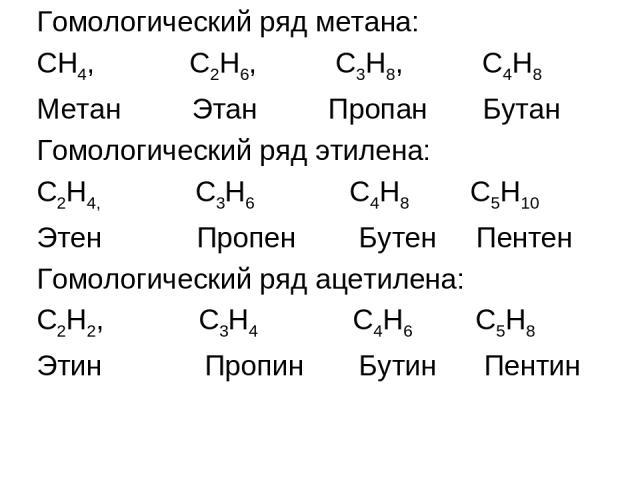 Гомологический ряд метана: СН4, С2Н6, С3Н8, С4Н8 Метан Этан Пропан Бутан Гомологический ряд этилена: С2Н4, С3Н6 С4Н8 С5Н10 Этен Пропен Бутен Пентен Гомологический ряд ацетилена: С2Н2, С3Н4 С4Н6 С5Н8 Этин Пропин Бутин Пентин