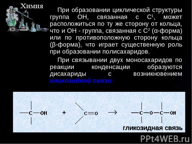 При образовании циклической структуры группа ОН, связанная с C1, может расположиться по ту же сторону от кольца, что и ОН - группа, связанная с C2 (α-форма) или по противоположную сторону кольца (β-форма), что играет существенную роль при образовани…