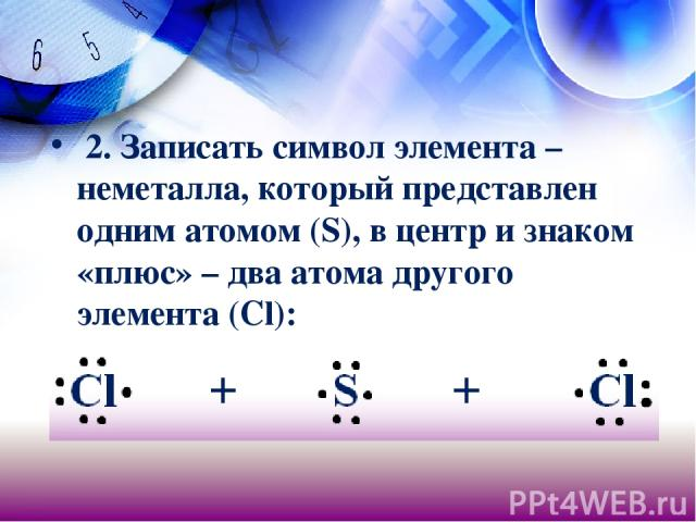 2. Записать символ элемента – неметалла, который представлен одним атомом (S), в центр и знаком «плюс» – два атома другого элемента (Сl):