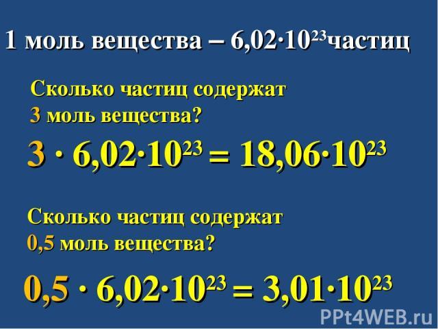 1 моль вещества – 6,02∙1023частиц Сколько частиц содержат 3 моль вещества? Сколько частиц содержат 0,5 моль вещества? 3 ∙ 6,02∙1023 = 18,06∙1023 0,5 ∙ 6,02∙1023 = 3,01∙1023