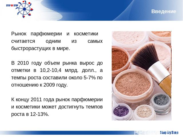 Введение Рынок парфюмерии и косметики считается одним из самых быстрорастущих в мире. В 2010 году объем рынка вырос до отметки в 10,2-10,4 млрд. долл., а темпы роста составили около 5-7% по отношению к 2009 году. К концу 2011 года рынок парфюмерии и…