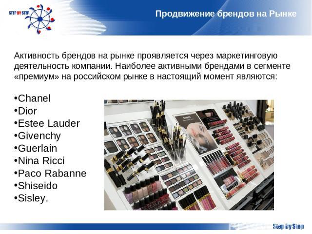 Продвижение брендов на Рынке Активность брендов на рынке проявляется через маркетинговую деятельность компании. Наиболее активными брендами в сегменте «премиум» на российском рынке в настоящий момент являются: Chanel Dior Estee Lauder Givenchy Guerl…