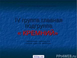 МБОУ Балтасинская гимназия IV группа главная подгруппа « КРЕМНИЙ» Подготовила: Х