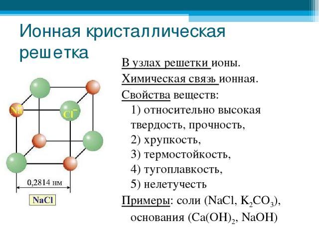 Ионная кристаллическая решетка В узлах решетки ионы. Химическая связь ионная. Свойства веществ: 1) относительно высокая твердость, прочность, 2) хрупкость, 3) термостойкость, 4) тугоплавкость, 5) нелетучесть Примеры: соли (NaCl, K2CO3), основания (C…