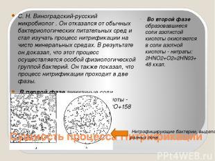 С. Н. Виноградский-русский микробиолог . Он отказался от обычных бактериологичес