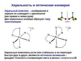 * Хиральность и оптическая изомерия Хиральный комплекс - изображение в зеркале н