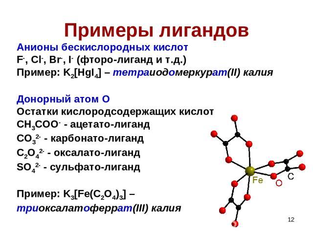 * Примеры лигандов Анионы бескислородных кислот F-, Cl-, Br-, I- (фторо-лиганд и т.д.) Пример: K2[HgI4] – тетраиодомеркурат(II) калия Донорный атом O Остатки кислородсодержащих кислот CH3COO- - ацетато-лиганд CO32- - карбонато-лиганд C2O42- - оксала…