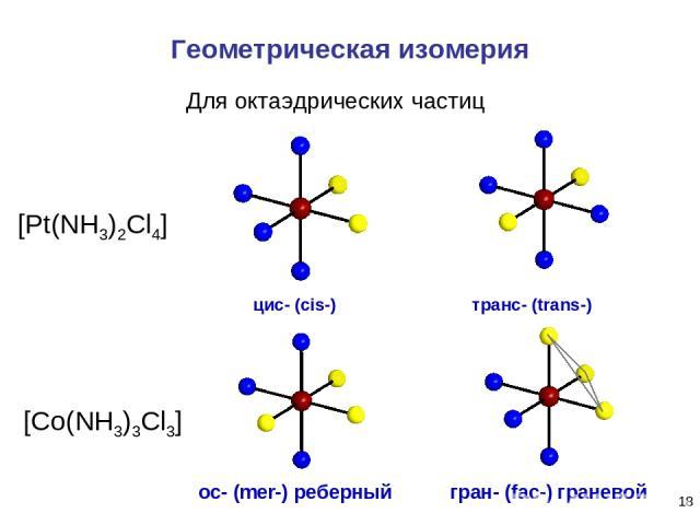 * Геометрическая изомерия ос- (mer-) реберный гран- (fac-) граневой Для октаэдрических частиц [Pt(NH3)2Cl4] [Co(NH3)3Cl3] транс- (trans-) цис- (cis-)