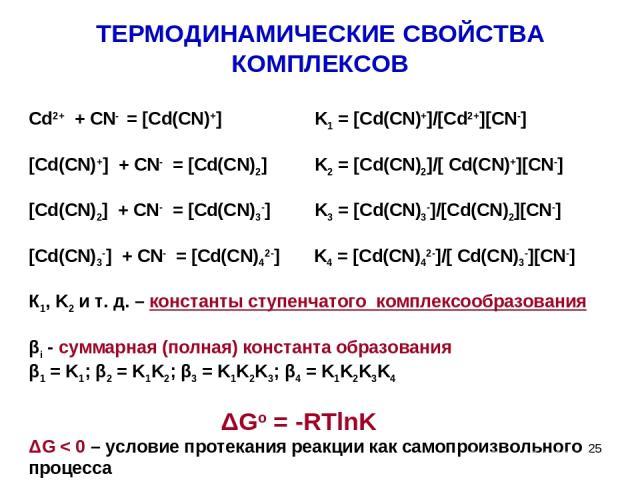 ТЕРМОДИНАМИЧЕСКИЕ СВОЙСТВА КОМПЛЕКСОВ Cd2+ + CN- = [Cd(CN)+] K1 = [Cd(CN)+]/[Cd2+][CN-] [Cd(CN)+] + CN- = [Cd(CN)2] K2 = [Cd(CN)2]/[ Cd(CN)+][CN-] [Cd(CN)2] + CN- = [Cd(CN)3-] K3 = [Cd(CN)3-]/[Cd(CN)2][CN-] [Cd(CN)3-] + CN- = [Cd(CN)42-] K4 = [Cd(CN…