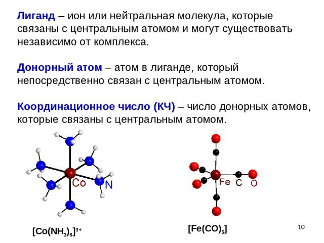 * Лиганд – ион или нейтральная молекула, которые связаны с центральным атомом и могут существовать независимо от комплекса. Донорный атом – атом в лиганде, который непосредственно связан с центральным атомом. Координационное число (КЧ) – число донор…