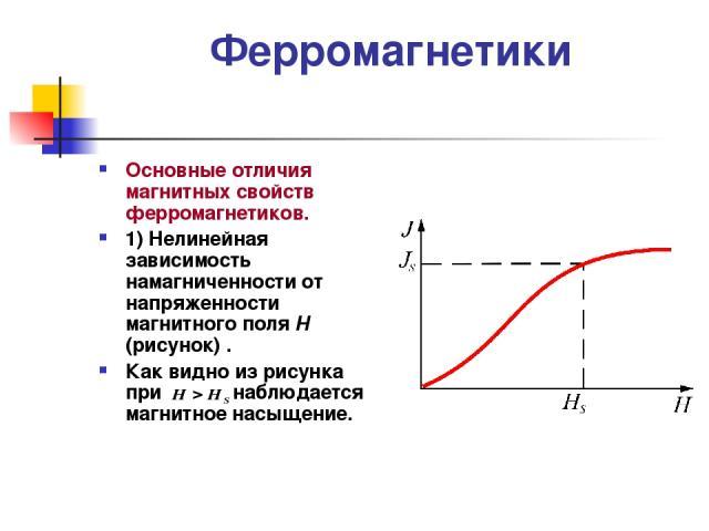 Ферромагнетики Основные отличия магнитных свойств ферромагнетиков. 1) Нелинейная зависимость намагниченности от напряженности магнитного поля Н (рисунок) . Как видно из рисунка при наблюдается магнитное насыщение.