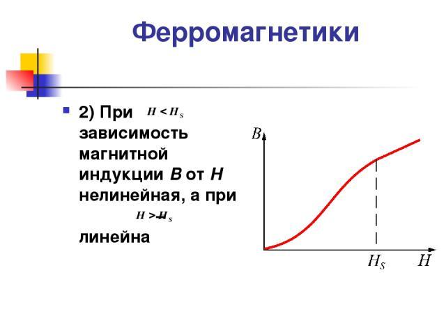 Ферромагнетики 2) При зависимость магнитной индукции В от Н нелинейная, а при – линейна