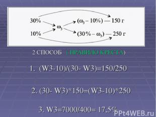 2 СПОСОБ ( ПРАВИЛО КРЕСТА) 1. (W3-10)/(30- W3)=150/250 2. (30- W3)*150=(W3-10)*2