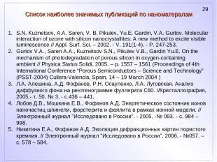 Список наиболее значимых публикаций по наноматералам S.N. Kuznetsov, A.A. Saren,