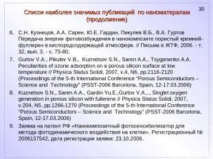 Список наиболее значимых публикаций по наноматералам (продолжение) С.Н. Кузнецов