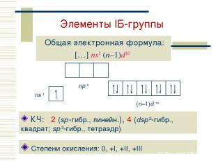 Элементы IБ-группы Общая электронная формула: […] ns1 (n–1)d10 Степени окисления