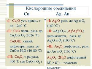 Кислородные соединения Cu Ag, Au +I: Cu2O уст. красн., т. пл. 1240 С +II: CuO че