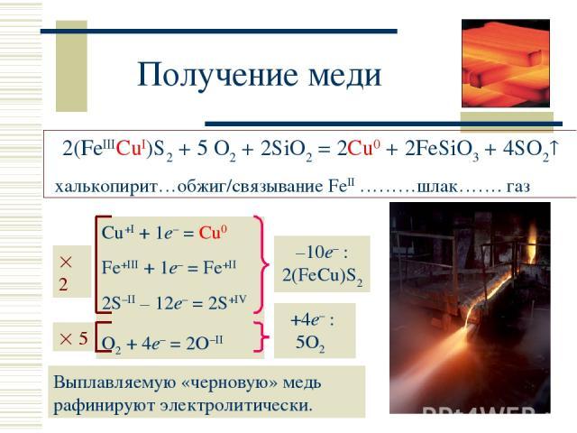 Получение меди 2(FeIIICuI)S2 + 5 O2 + 2SiO2 = 2Cu0 + 2FeSiO3 + 4SO2 халькопирит…обжиг/связывание FeII ………шлак……. газ Cu+I + 1e– = Cu0 Fe+III + 1e– = Fe+II 2S–II – 12e– = 2S+IV O2 + 4e– = 2O–II Выплавляемую «черновую» медь рафинируют электролитически.