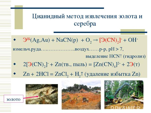 Цианидный метод извлечения золота и серебра ЭIБ(Ag,Au) + NaCN(р) + O2 [Э(CN)2] + OH измельч.руда….……………..воздух……р-р, рН > 7, выделение HCN (гидролиз) 2[Э(CN)2] + Zn(тв., пыль) = [Zn(CN)4]2 + 2Э(т) Zn + 2HCl = ZnCl2 + H2 (удаление избытка Zn)
